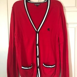 Red Express Cardigan with Black and White Details